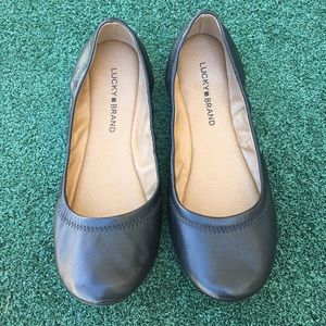 NWT Lucky Brand Emmie Leather Ballet Flat Black 9